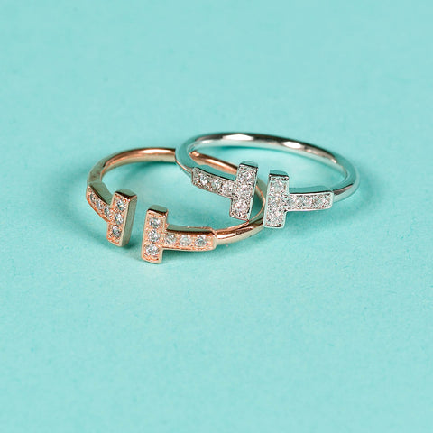 100% Silver T-square ring open-end rings with crystals
