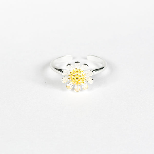100% Silver Sterling Daisy Open-end Pinky Ring