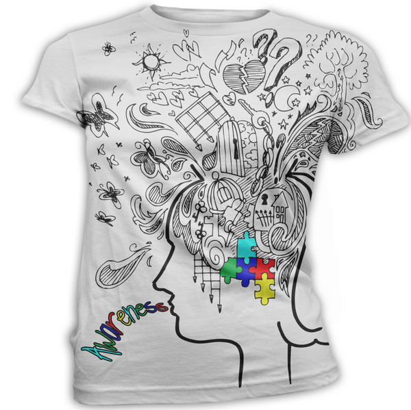 Girl Thought Cloud Autism Awareness T-Shirt
