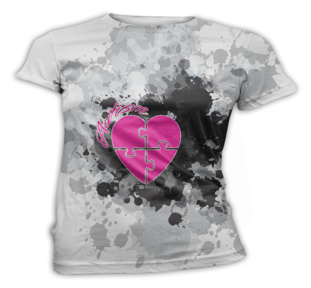 Hot Pink Heart Autism Awareness T-Shirt