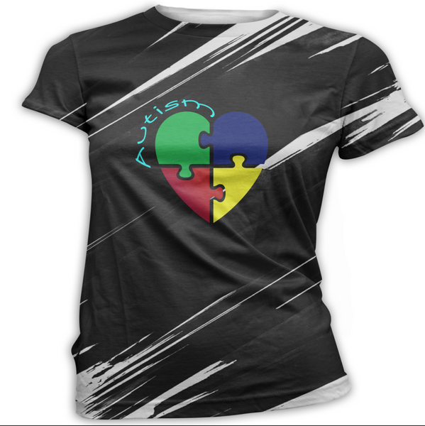 Primary Color Autism Awareness Heart T-Shirt
