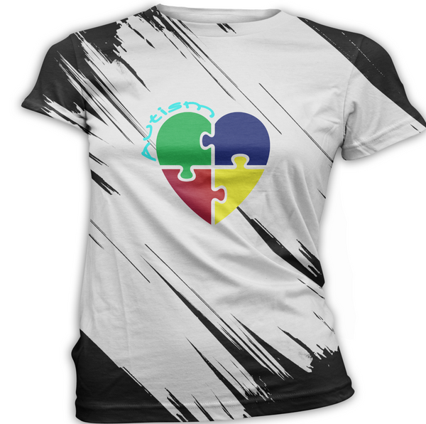 Primary Color Heart Puzzle Autism Awareness T-Shirt