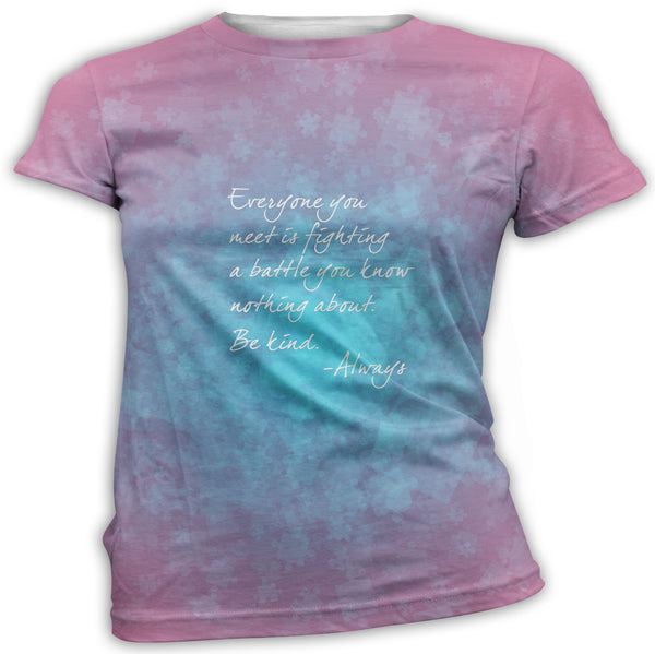 Pink and Blue Be Kind Autism Awareness T-Shirt