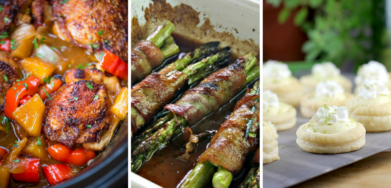 A Spring Menu:  Slow Cooker Hawaiian Chicken, Bacon-Wrapped Asparagus, Coconut-Lime Tartlets