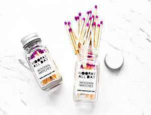 Colorful Wooden Matches in Little Glass Bottle - 5 Colors