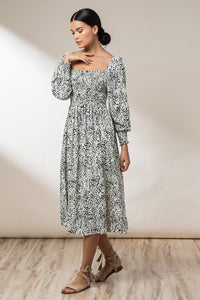 Elyse Shirred Maxi Dress - Ink Haze