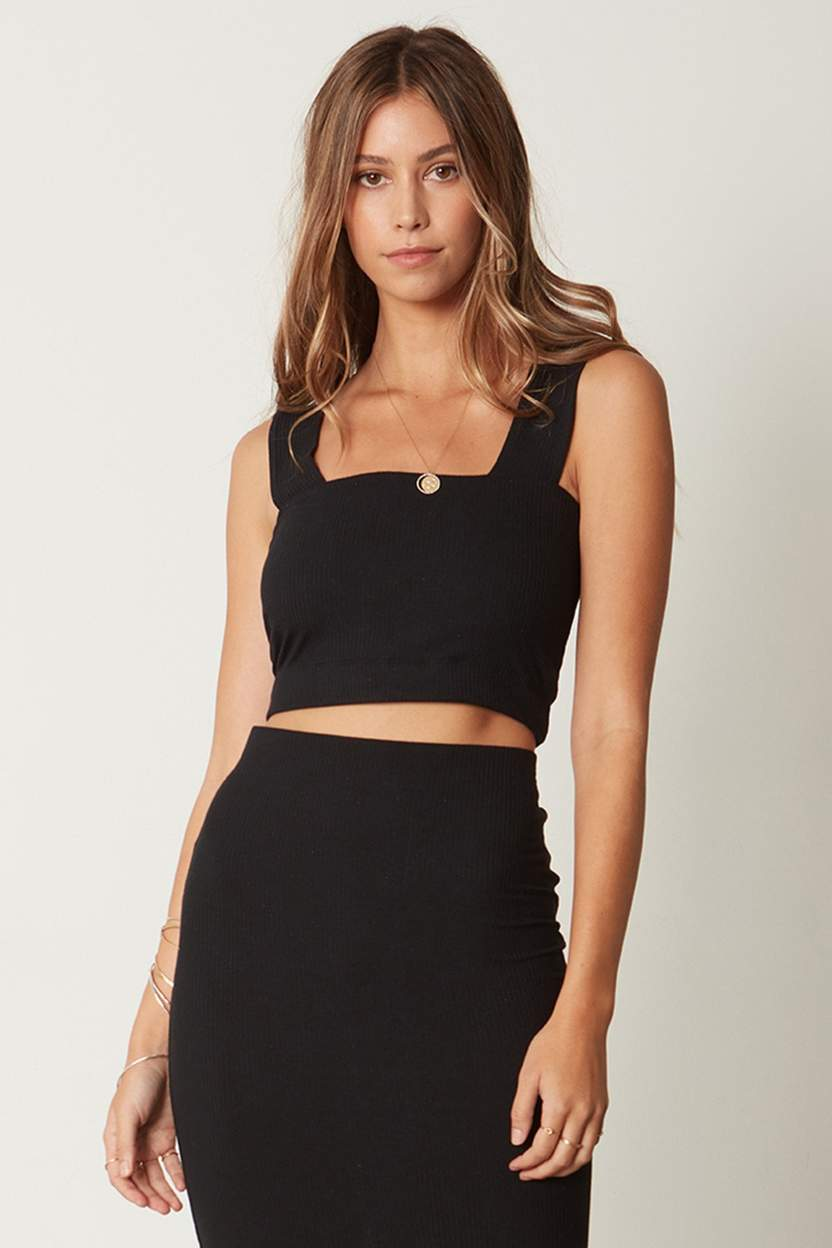 The Square Crop Cami - Black