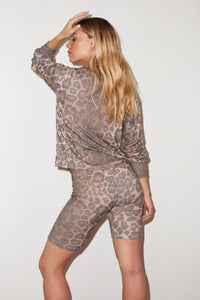 Calvin Brushed Rib Biker Short - Leopard