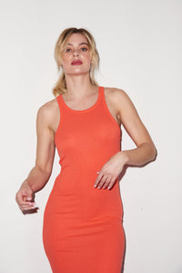 Skinny Racer Midi Tank Dress - Coral