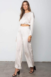 The Sunset Wide Leg Pant - Champagne