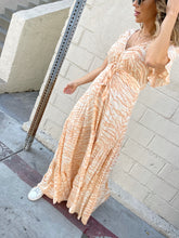 Load image into Gallery viewer, Brooklyn Zebra Tie Front Maxi Dress - Sand