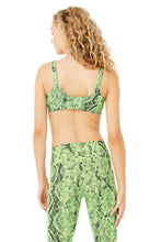Load image into Gallery viewer, Vapor Snakeskin Bra - Neon Lime