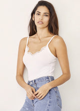 Load image into Gallery viewer, Sammy Rib Lace Tank - White
