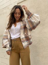 Load image into Gallery viewer, Mattie Plaid Bomber - Ivory Plaid