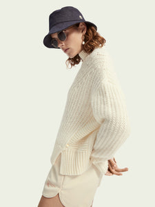 High Neck Wool-Alpaca Blend Pullover - Icy White