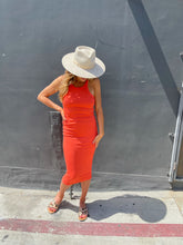 Load image into Gallery viewer, Skinny Racer Midi Tank Dress - Coral