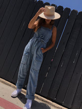 Load image into Gallery viewer, Go West Denim Jumpsuit - Mirage Blue