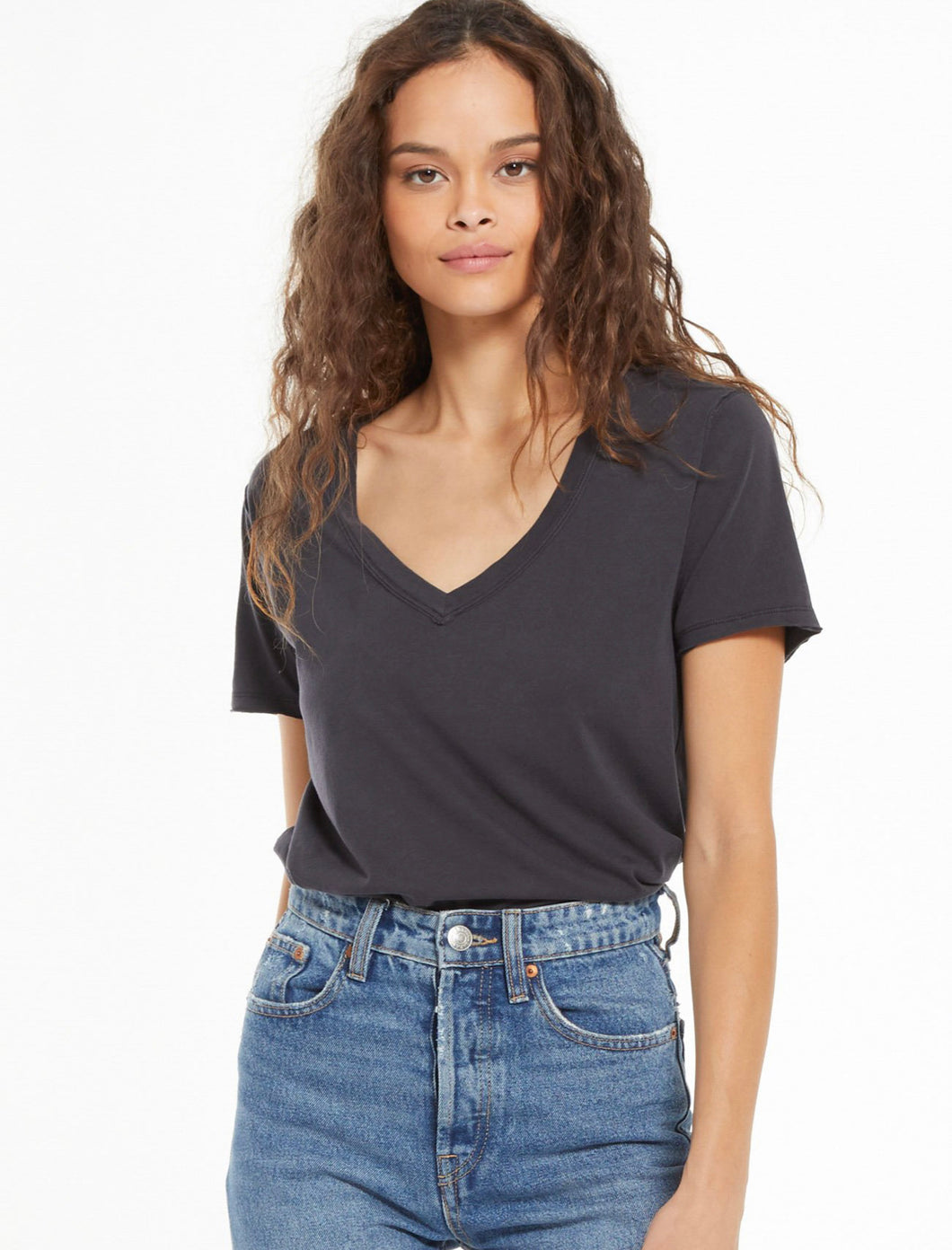 Organic Cotton V-Neck Tee - Washed Black