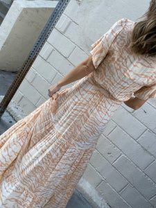 Brooklyn Zebra Tie Front Maxi Dress - Sand