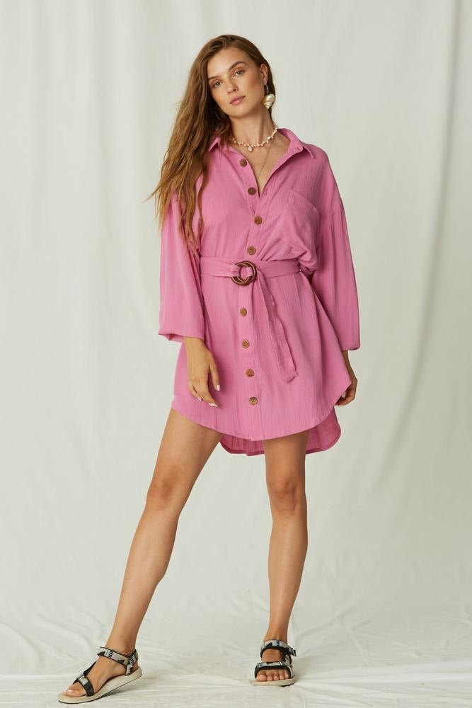Ipanema Mini Shirt Dress - Wild Orchid