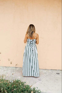 Flora Dress - Olive Bold Stripe