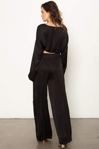 The Sunset Wide Leg Pant - Black