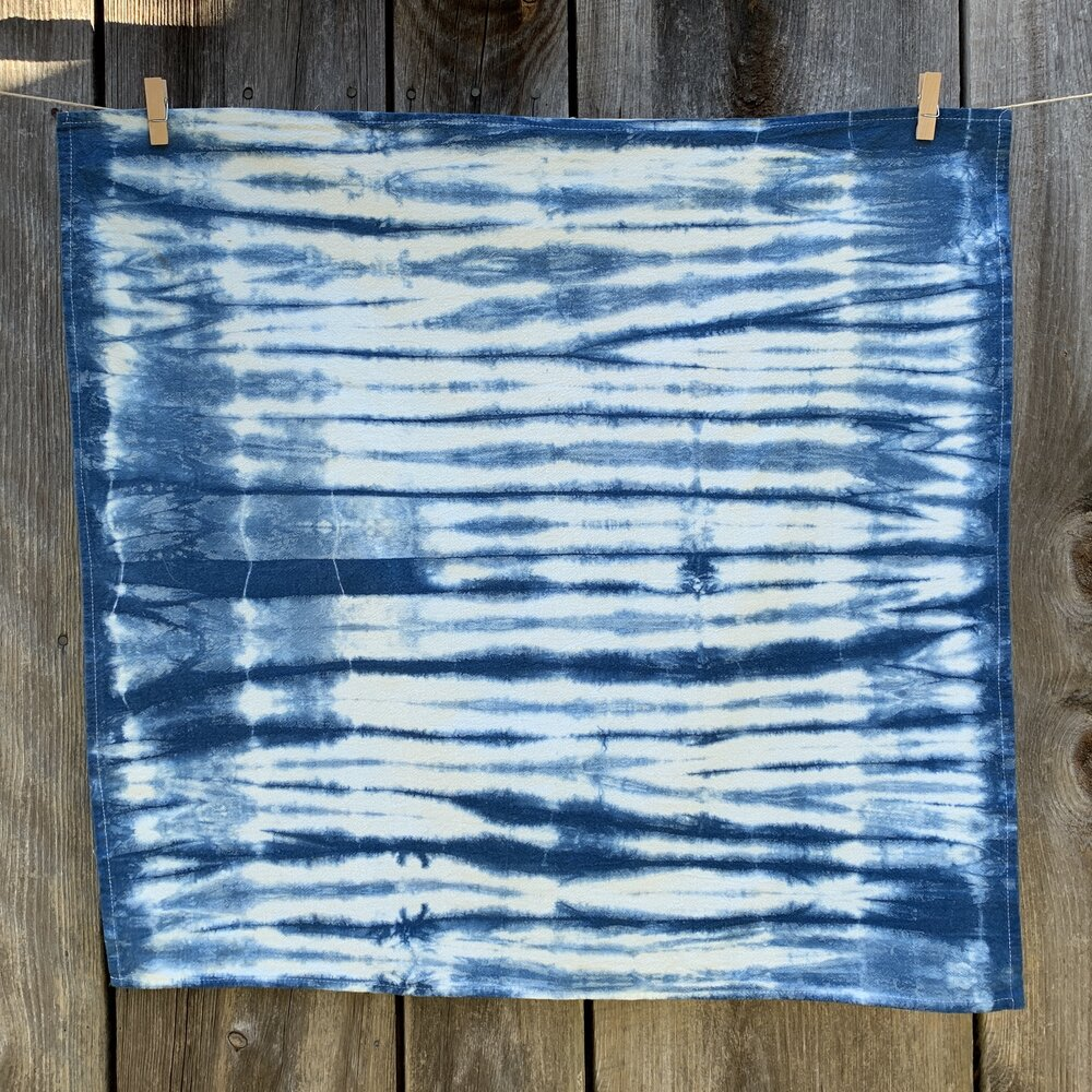 Indigo Dyed Shibori Tea Towel - Stripes