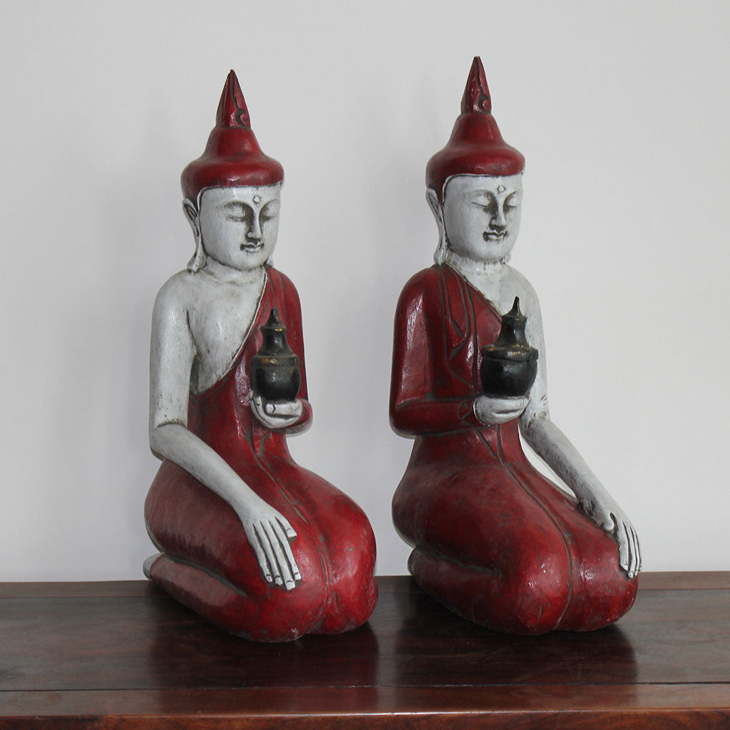 Buddha pair large red/white
