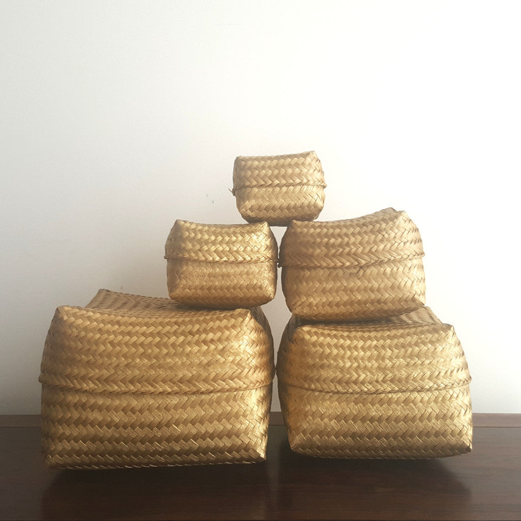 Baskets, bamboo, set of 5