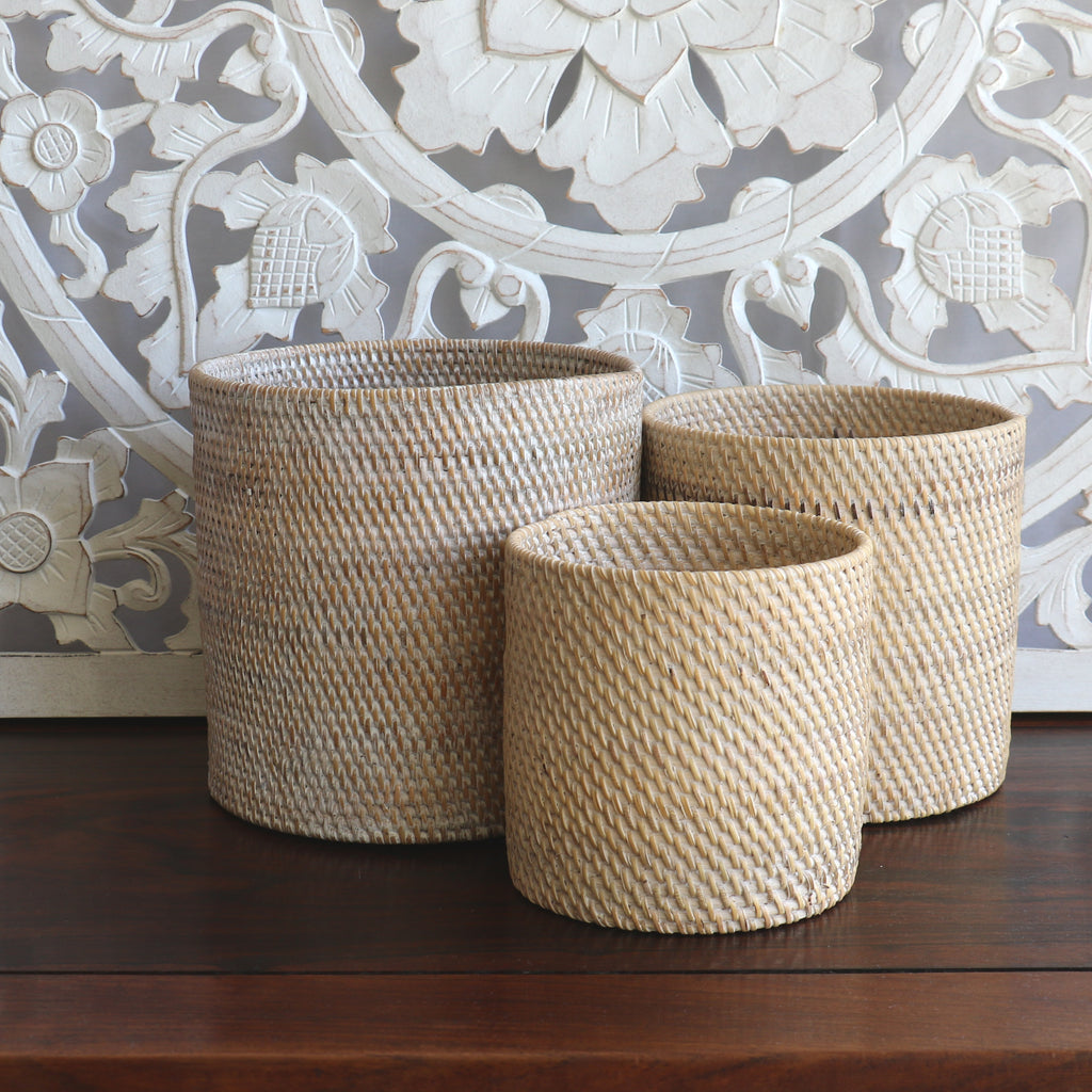Baskets, rattan, 3 in 1