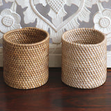 Baskets, rattan, white wash
