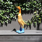 "Duck ""in boots"", wood, blue"