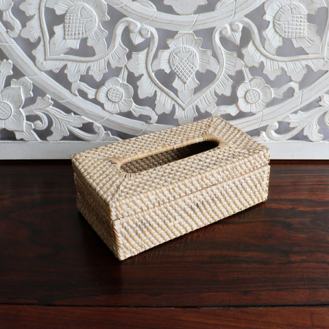 Basket, rattan, tissue holder, white wash