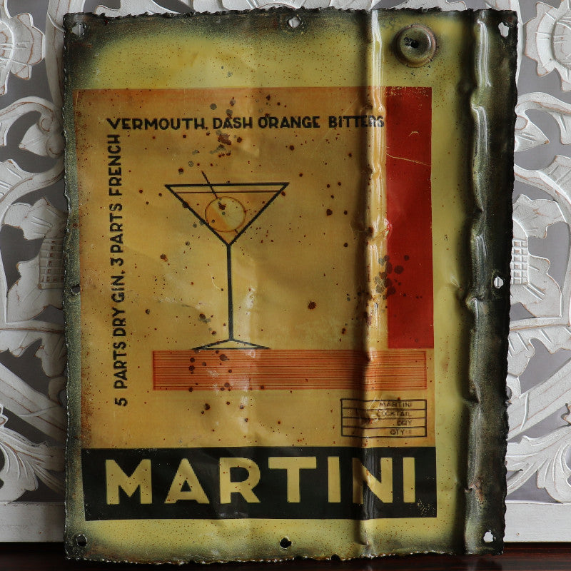 "Wall hanging, recycled tin plaque, ""Martini"""