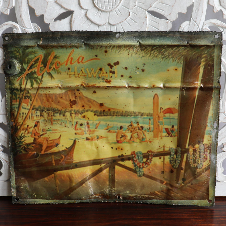 Wall hanging, recycled tin plaque, Hawaii