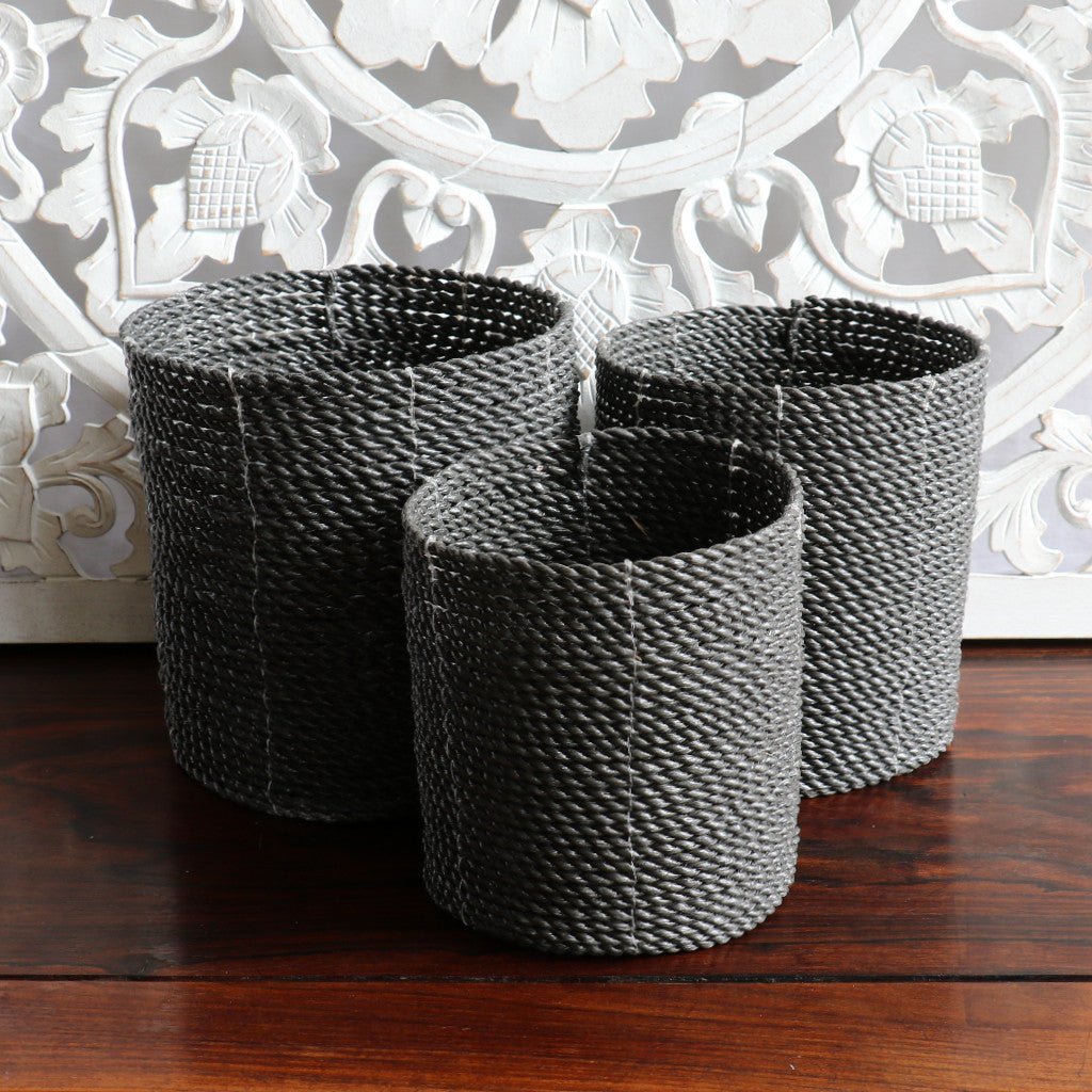 Baskets, planters, charcoal, seagrass