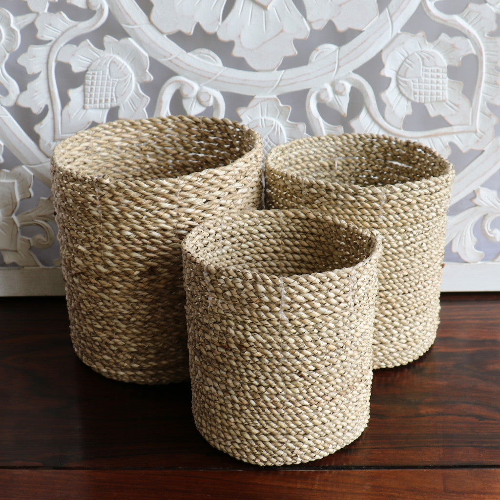 Baskets, planters, natural, seagrass