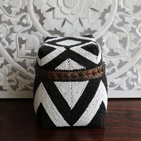 Basket with lid, tribal, large