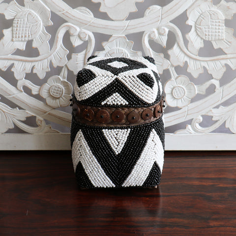 Basket with lid, tribal, small