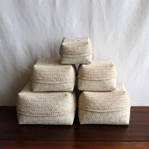 Baskets, bamboo, set of 5, white washed