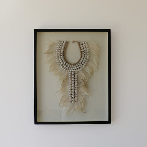 Necklace, shell/feather, framed