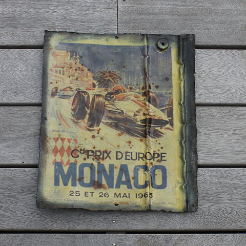 "Wall hanging, recycled tin plaque, ""Monaco"""