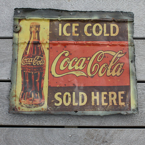 Wall hanging, recycled tin plaque, Coca Cola