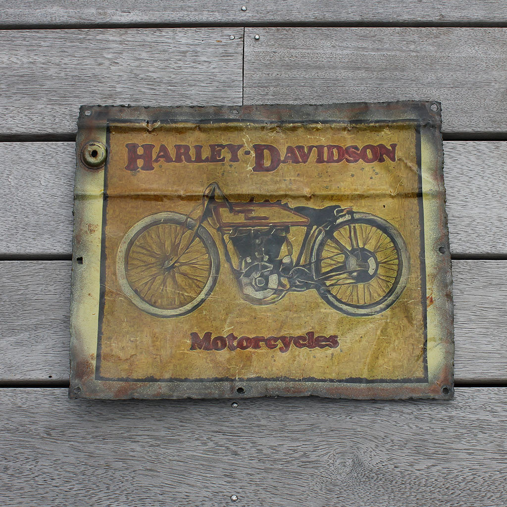 Wall hanging, recycled tin plaque, Harley Davidson