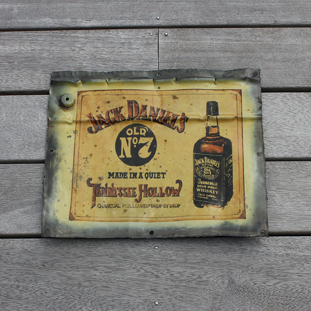Wall hanging, recycled tin plaque, Jack Daniel's