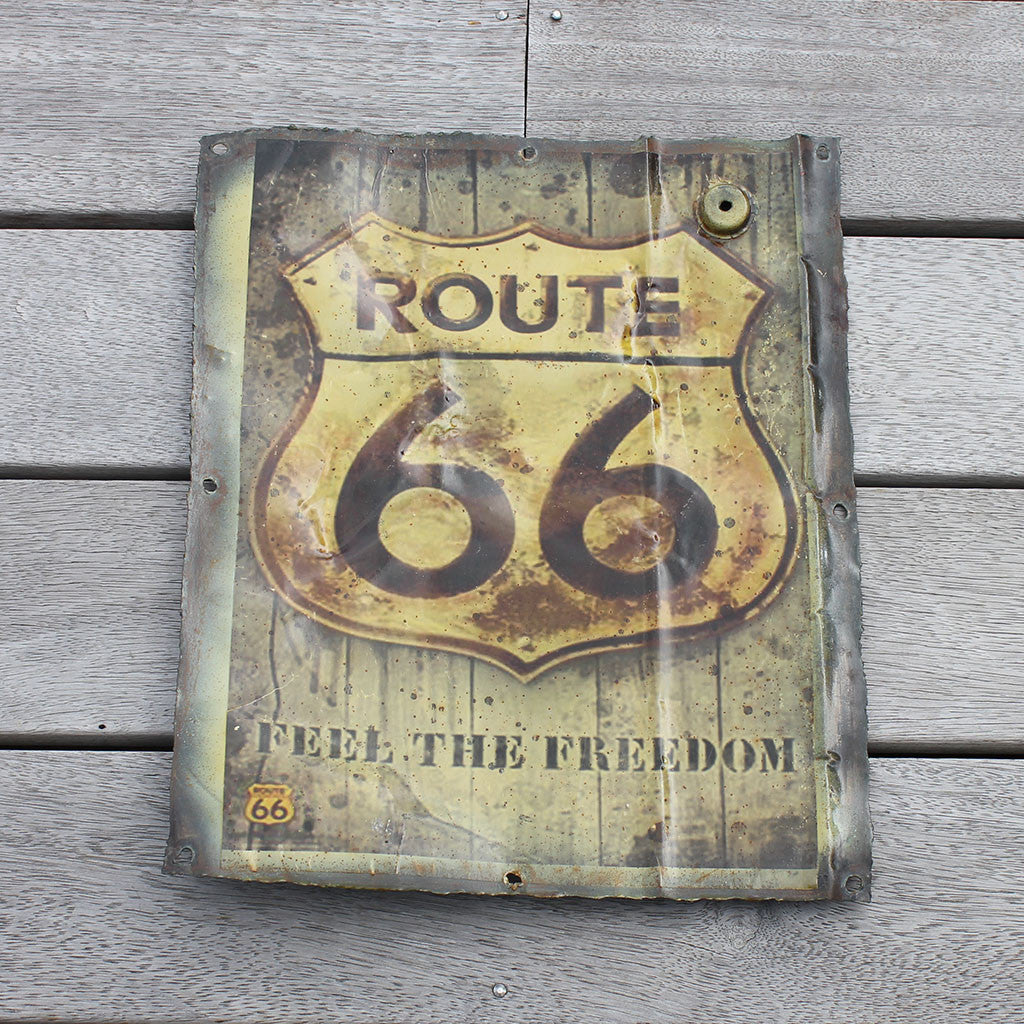"Wall hanging, recycled tin plaque, ""Route 66"""