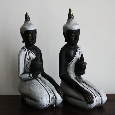 Buddha Pair, small, black/white