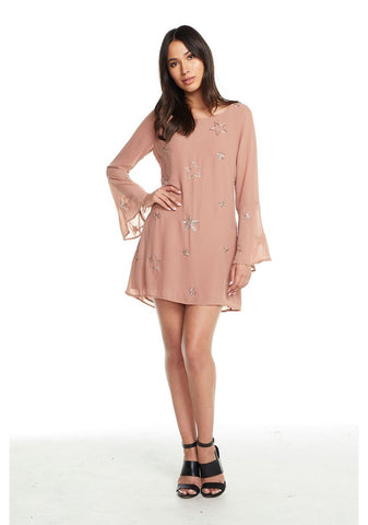 Beaded Star Peplum Sleeve Mini Dress