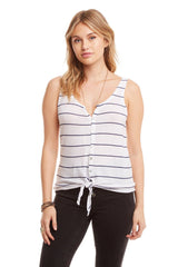 Button Down Tie Front Tank-Tank Tops-Chaser-Coda & Cade