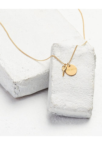 Disc Pendant & Mini Key Charm Necklace